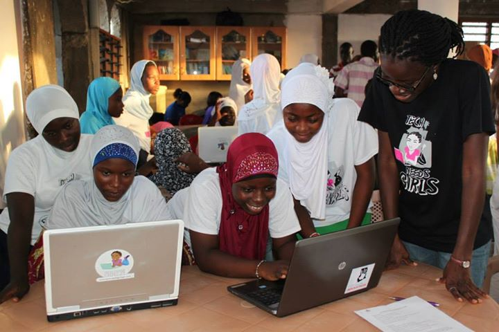 ABC students during a coding session with Tech Needs Girls.   Photo Credit: TNG