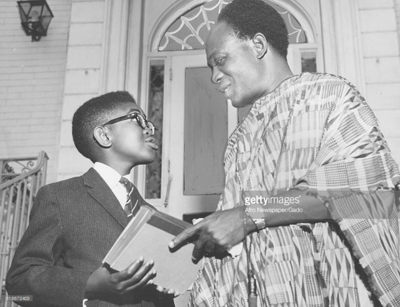 Ghana's first president Osagyefo Dr.Kwame Nkrumah shares a moment with an African-American boy on his state visit to see American President John F. Kennedy.