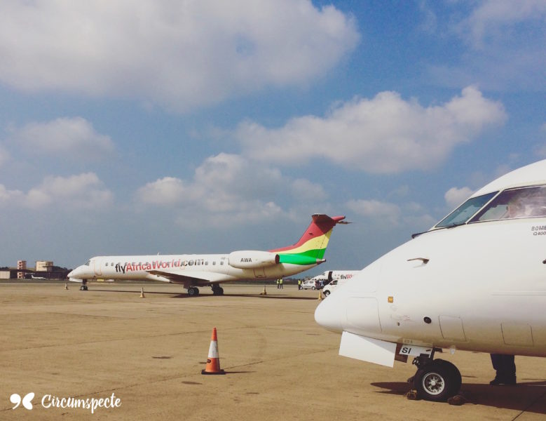 Regional Airline Africa World Airlines at Ghana's Kotoka International Airport. Photo by Jemila Abdulai
