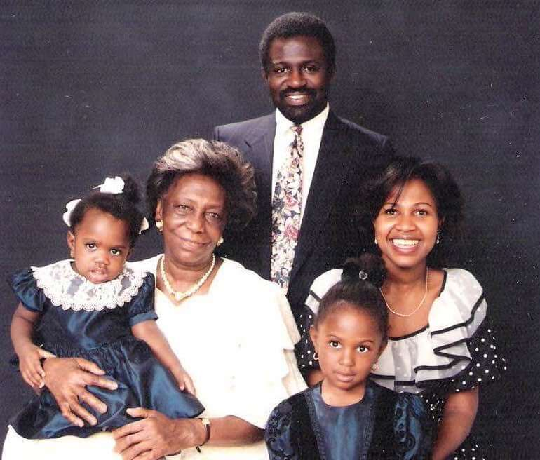 Ghana history buff and The Nana Project Kirstie Kwarteng with parents, sister and grandma. Circa 1992.